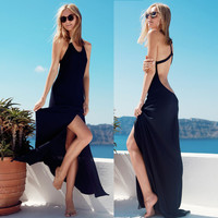 Black Strappy Open Back Maxi Dress With Slit