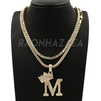 """Hip Hop Iced Out KING CROWN M INITIAL BUBBLE Exclusive Pendant W/ 18"""" Franco Chain & Tennis Choker Chain Set"""
