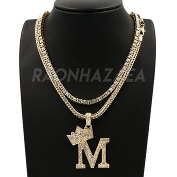 "Hip Hop KING CROWN M INITIAL BUBBLE Exclusive Pendant W/ 18"" Franco Chain & Tennis Choker Chain Set"