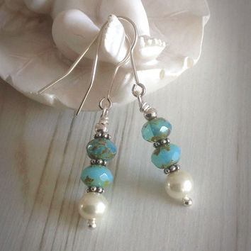 Freshwater pearl earrings, Czech glass Picasso, dangly, blue, sterling silver, boho style