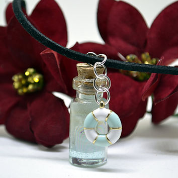 Ocean in a Bottle Necklace, Seashell Necklace, Tiny Glass Bottle Necklace, Beach Jewelry, Nautical Jewelry, Beach Lover Gift, Ocean Necklace