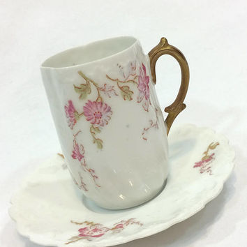 Antique Bawo Dotter Elite Limoges Chocolate Demitasse Cup, Pink Flowers Branch Handle, Shabby Chic, 1890s China, Embossed Eggshell Porcelain