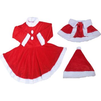 Baby Girls Christmas Clothes Santa Baby Dress Warm shaw Children Fancy Costume Winter Clothing Suits Give the hat