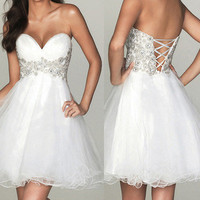 Short Sweetheart Bodice Evening Prom Gown Wedding Cocktail Party Dress Short White Only