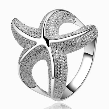 Fashion Silver Color Alloy Luxury Starfish Wedding Rings Jewely Chic Charm Rings For Women Girls Party Accessories Jewelry