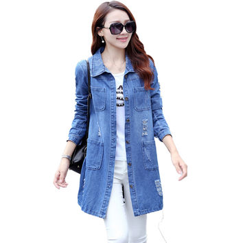 Women Spring Fashion Plus Size S-5XL Long Loose Cotton Denim Blouses Long Sleeve Shirts Tops Jeans Blouse Female Casual Clothing