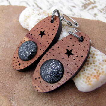 Starry Night Dangle Glass and Cedar Wood Earrings - Antiqued Silver - Black and Silver Sparkle