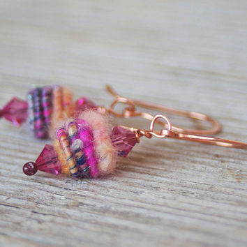 Handmade Copper Wire - Textil Beads Earrings