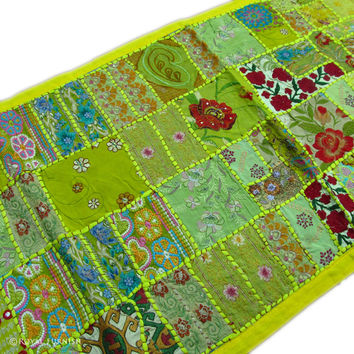 Yellow Vintage Indian Handmade Multi Patchwork Tapestry Runner