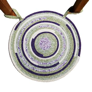 Handmade Chair Pad, Round, Made to Order, Fabric Upcycled Bohemian Kitchen Decor, Choose Your Colors