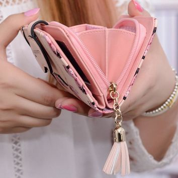 Women Wallet 2017 New Fashion Lovely Cartoon Printed Unicorn Wallet Soft Leather Clutch Purse Short Card Coin Lady Bag Gift