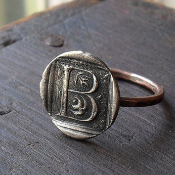 Initial Wax Seal Ring in Fine Silver and Copper by janewearjewelry