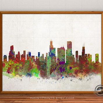 Chicago Skyline Watercolor, Illinois Print, USA City Painting, States Poster, Illustration Art Paint, Giclee Wall, Artwork, Fine, Home Decor