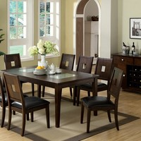 Primrose III Contemporary Style 9 Pc. Cracked Glass Insert on Table Top Dark Walnut Finish Wood Dining Set with Leatherette Seats and Picture Frame style backs