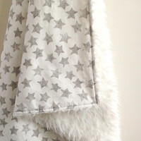 madly wish Crib Blanket, Starry Watercolor with Faux Fur Crib Blanket, Gender Neutral Baby Blanket