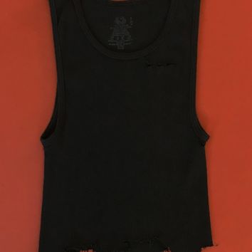Punk Rock Lies Cutoff Distressed Crop Tank 001 - Black