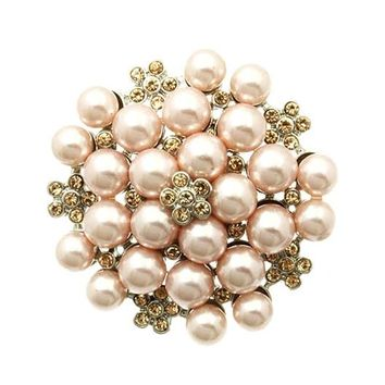 Pink Floral Pattern Pearl Pin And Brooch