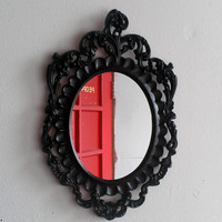Black Wall Mirror in Highly Ornate Vintage Oval Frame
