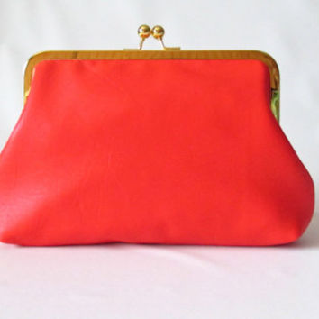 Frame clutch,  leather clutch, Coral / Orange clutch, Vintage Kiss Lock Frame Clutch, Evening Bag, Retro Style Clutch, bright leather clutch