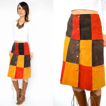 PATCHWORK high waisted boho hippie metal snap LEATHER SKIRT, extra small-medium