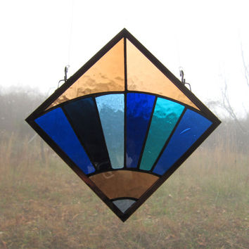 Appalachian Quilt Square Stained Glass Fan Window Hanging in Blue and Beige, Blenko Antique Glass