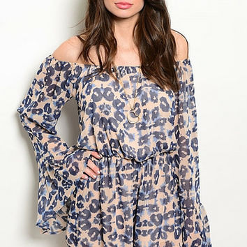 Peachy Blue Floral Abstract Romper