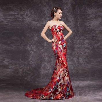 Retro Cheongsam Chinese Traditional Long Qipao Evening Gowns Antique Dress