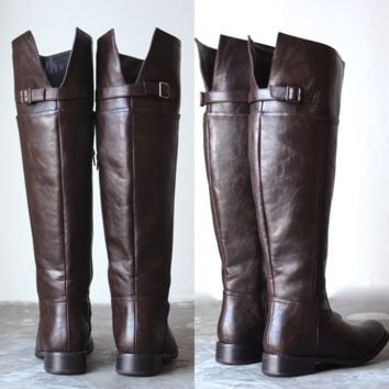 Rider's womens distressed tall riding boots in dark brown
