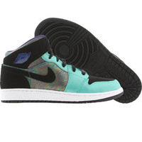 Air Jordan 1 Retro Mid (atomic teal / black / ultra violet / white) Shoes 555112-309 | PickYourShoes.com