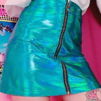 Metallic Blue PU Skirt