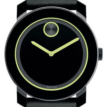 Men's Movado 'Bold' Leather Strap Watch, 42mm