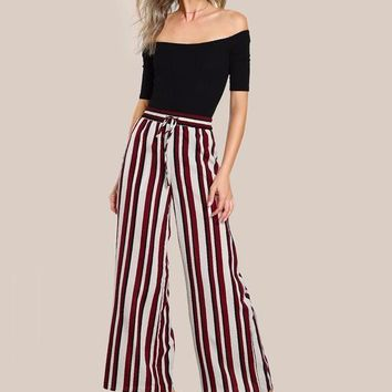 Drawstring Striped Palazzo Autumn Pants