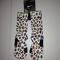 Brand New Custom Nike Elite Leopard Socks Sz Medium Rainbow Hipster Sb