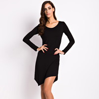 Solid Color Long Sleeve Knitted Dress
