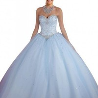 Mollybridal Women's Sweetheart Floor length Tulle Ball Gown Quinceanera Dresses