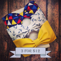 Nautical white navy anchor yellow blue red yellow triangles rockabilly pinup preppy fabric hair bows