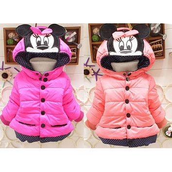 2016 Baby Kids Girls Winter Cotton Coat Padded Outwear Hoodies Children Clothes  For 1-4Y