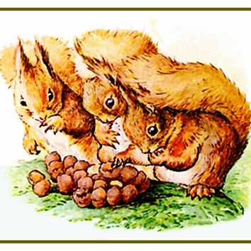 Squirrel Nutkin Family Shares Nuts inspired by Beatrix Potter Counted Cross Stitch or Counted Needlepoint Pattern