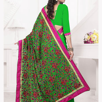 Cute Embroidered Pallu Saree in Lime Green Color