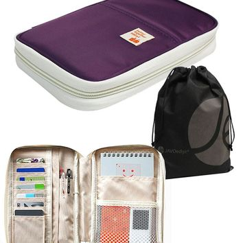 "Large Zippered Passport and Travel Document Organizer Wallet with Wristlet (5.3"" L x 1.4"" W x 8.7"" H)"