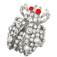 Silver Red Studded Rhinestone Ladybug Adjustable Ring