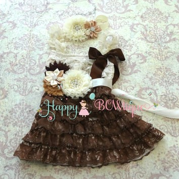Flower girls dress- Rustic Chocolate Beige Lace Dress set, Ivory Dress,baptism, Birthday,Christening,rustic wedding,burlap wedding,baby girl