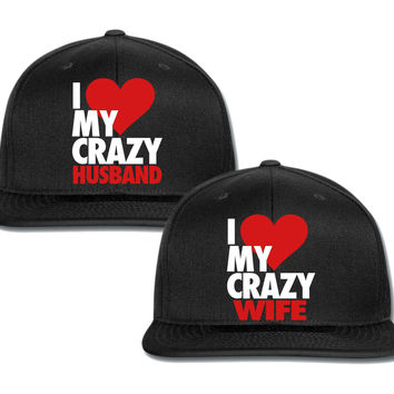 i heart my crazy wife i heart my crazy husbond couple matching snapback cap