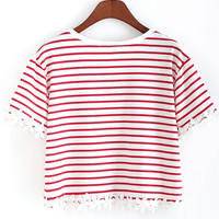 Red Striped With Appliques Crop T-Shirt - Sheinside.com