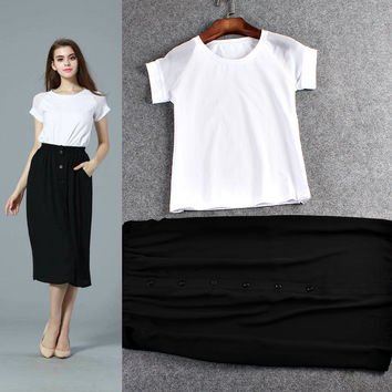 Knitted Short Sleeves Top Chiffon Button Swing Skirt