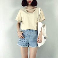Women Wash Jeans Denim Rivet Shorts