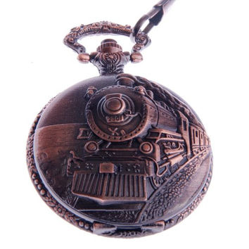 ShoppeWatch Pocket Watch with Chain Railroad Embossed Arabic Numerals Full Hunter Steampunk Design PW-31