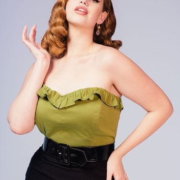 Dixiefried Plus Size Bustier Top in Olive Green