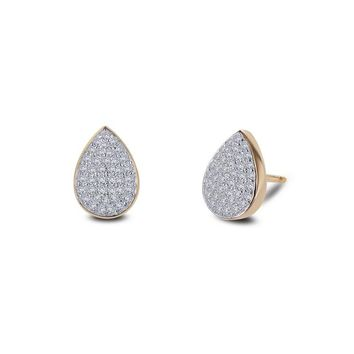 Lafonn Yellow Gold Plated Pear Shaped Cluster Simulated Diamond Stud Earrings