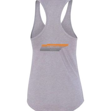 Official NCAA University of Tennessee Volunteers, Knoxville Vols UT UTK Women's State Map Racerback Tank - 15AU-TN